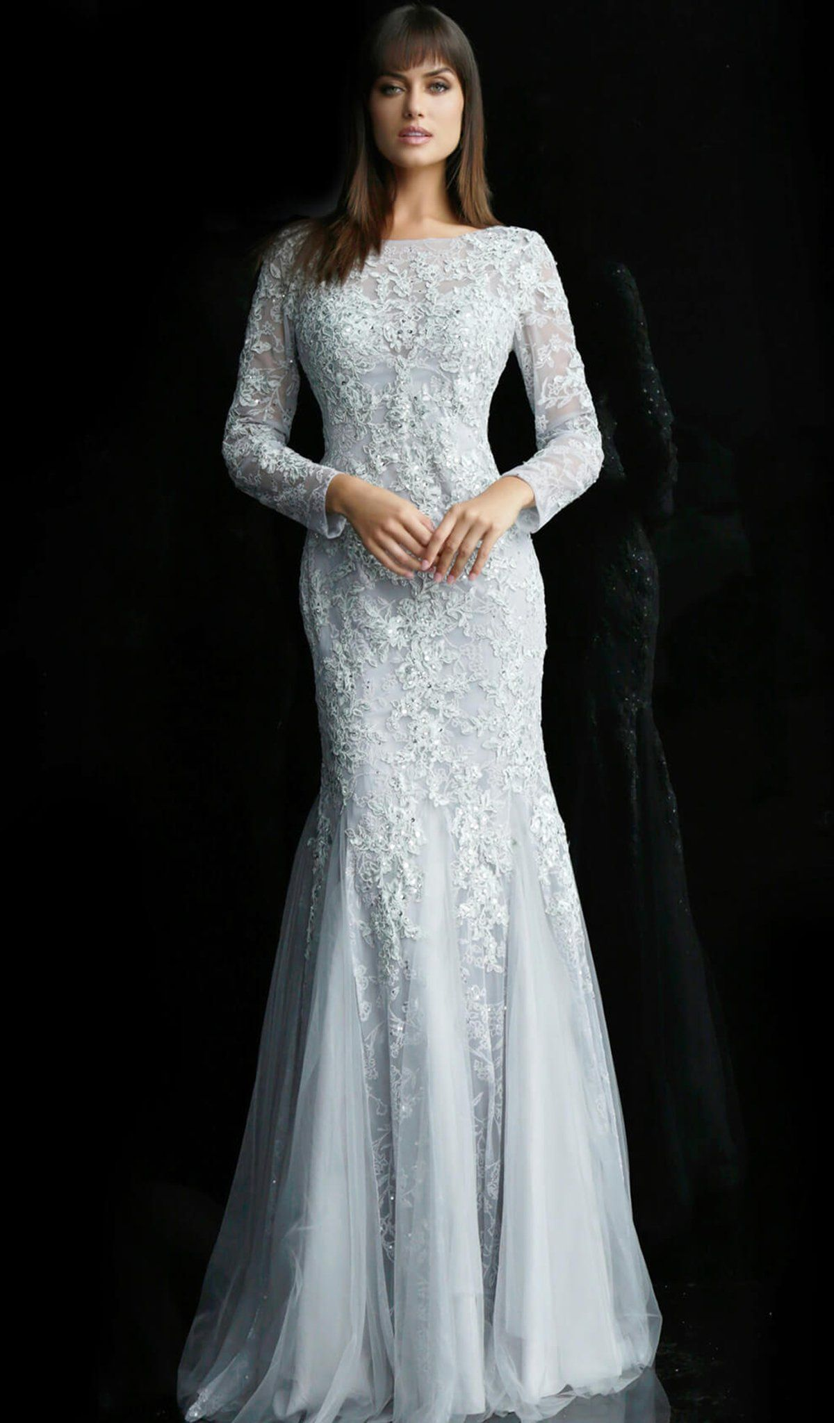 Jovani - 62766 Long Sleeve Ornate Lace Trumpet Gown | Lace ...