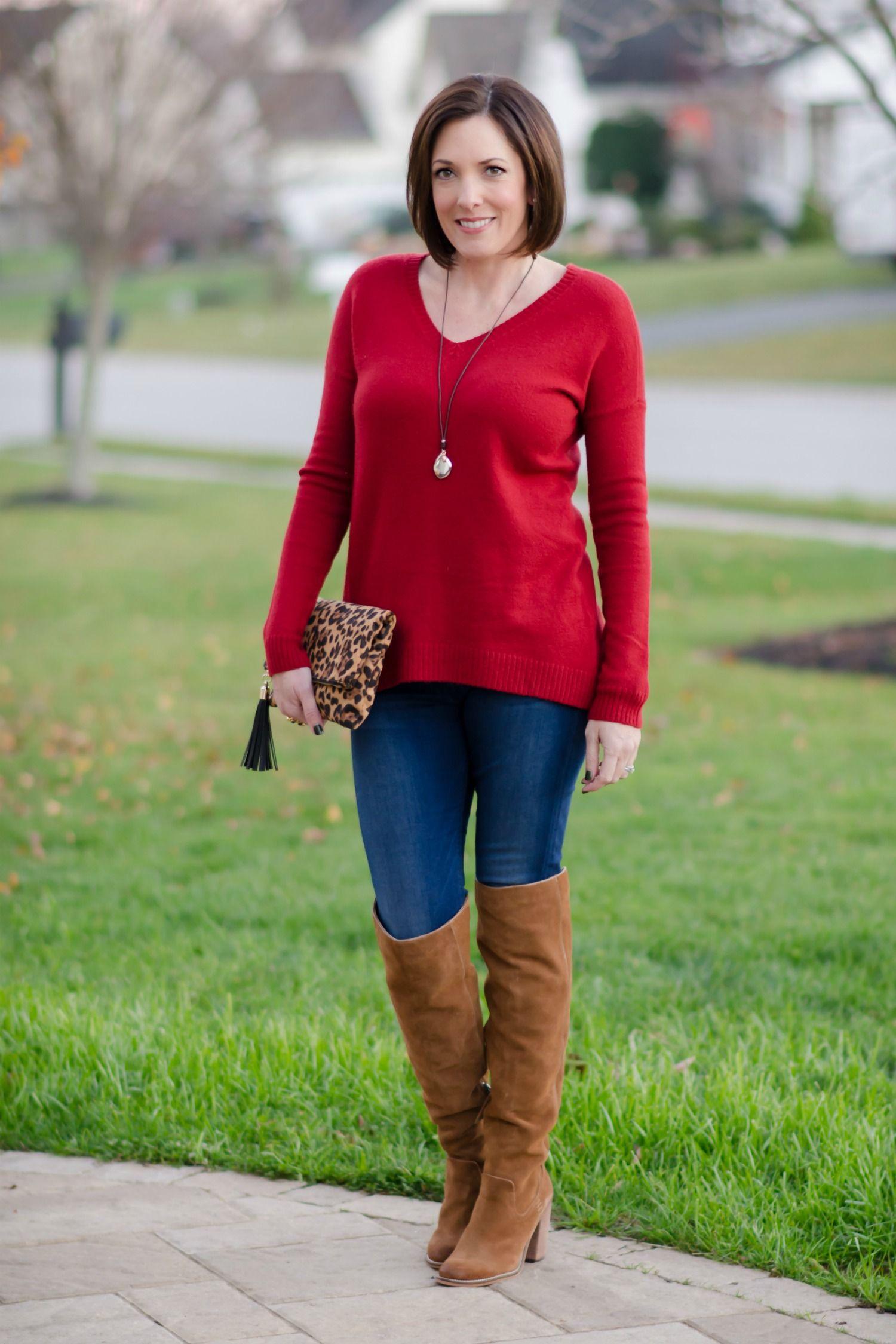 Casual Dinner Outfit: Split Back Boyfriend Sweater   OTK Boots ...