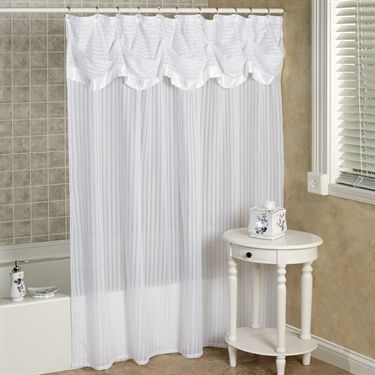 Nimbus Stripe Shower Curtain With Attached Valance With Images