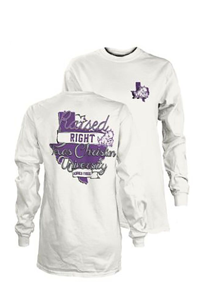differently a8fb8 59897 TCU Horned Frogs Womens White Raised Right LS Tee, White, 100% COTTON, Size  M