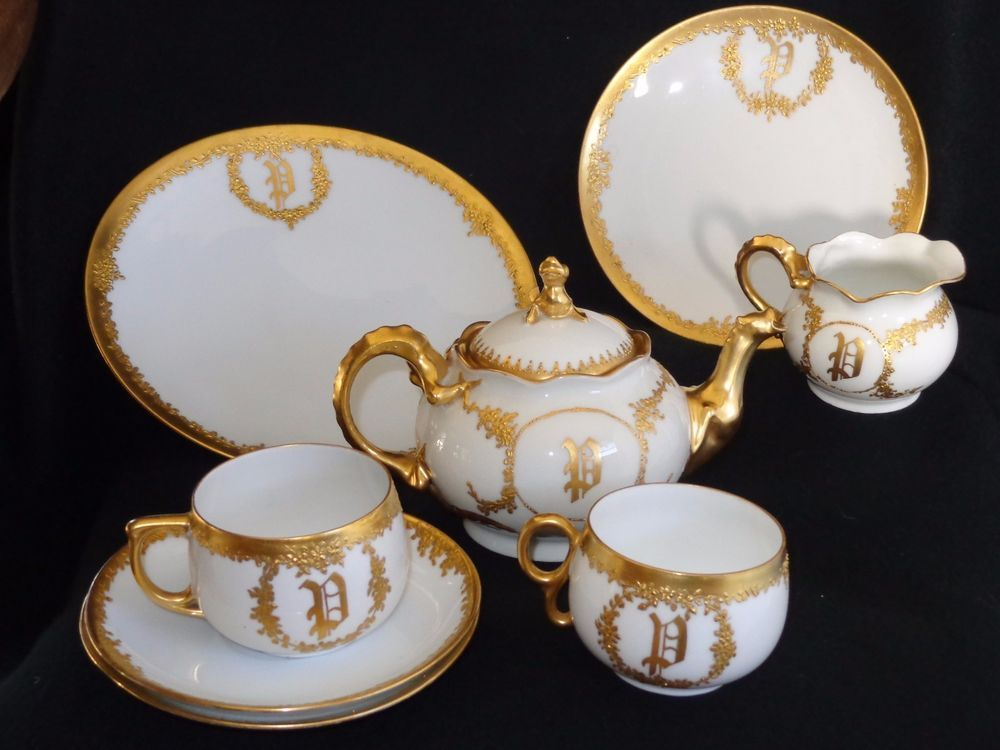 Gorgeous Limoges White Porcelain Gold Encrusted Monogram Teapot Tea Set & Gorgeous Limoges White Porcelain Gold Encrusted Monogram Teapot Tea ...