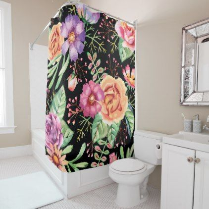 orange floral shower curtain. Stunning Purple Pink Orange Floral Shower Curtain  pattern sample design template diy cyo customize