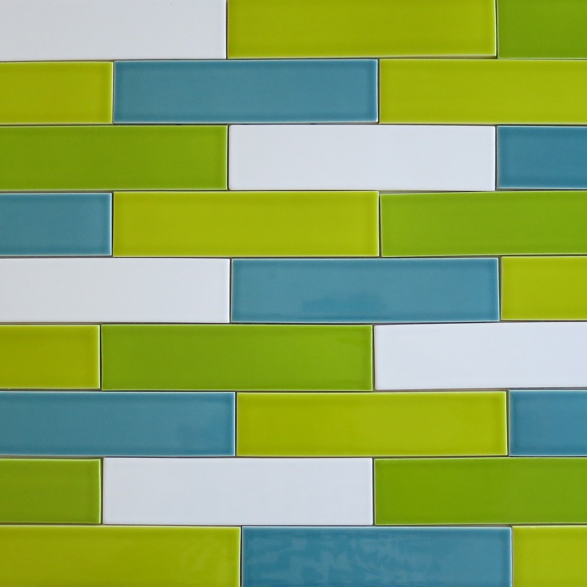 Kiln ceramic 2x8 subway tile chartreuse green multicolor kiln ceramic 2x8 subway tile chartreuse green multicolor horizontal installation close up doublecrazyfo Choice Image