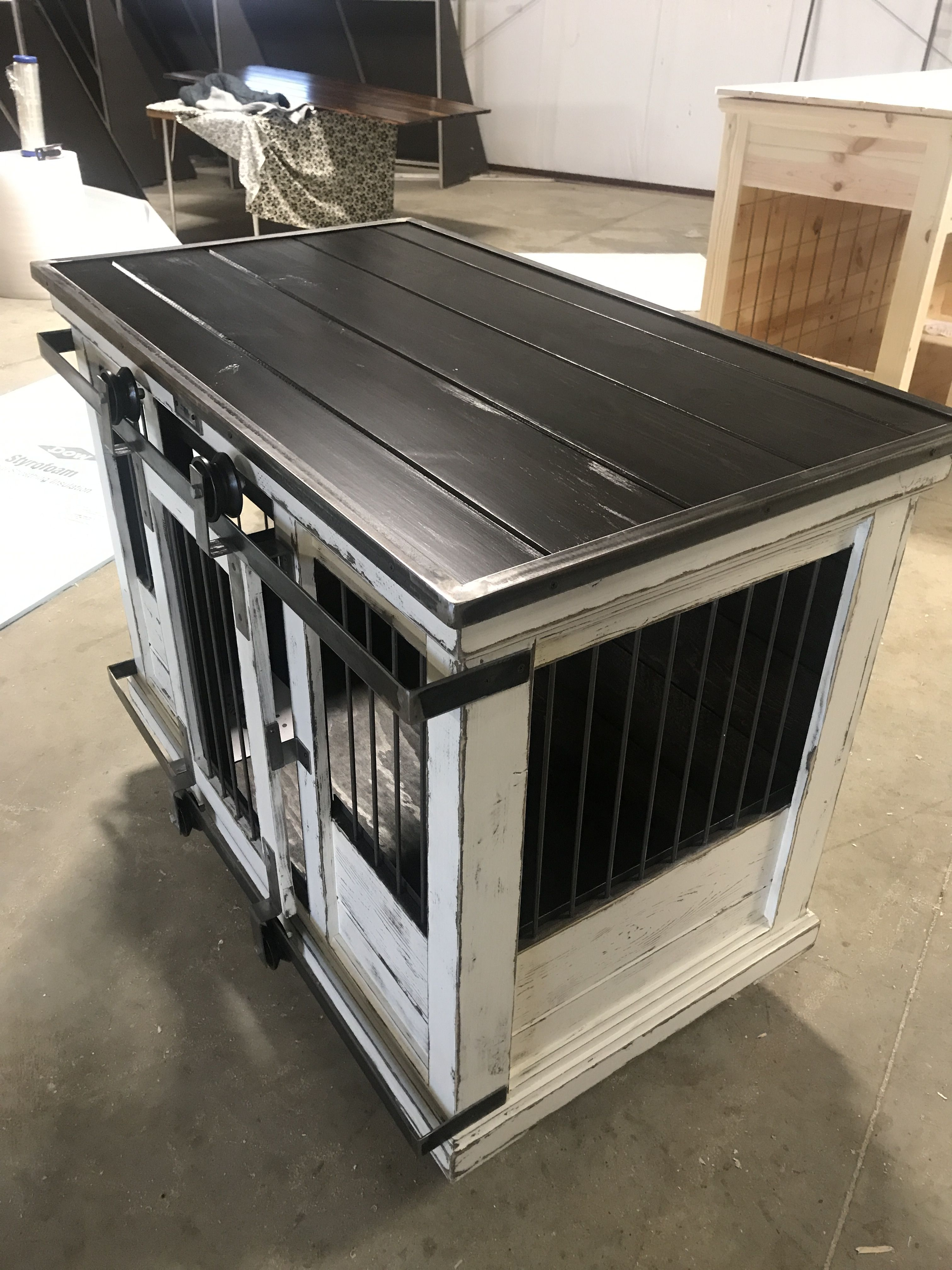 Indoor Dog Kennel With Barn Doors Perfect For Your Big Four Legged Dogs Love That Very Own Den You Love A Great Luxury Dog Kennels Dog Kennel Dog Crate Bed