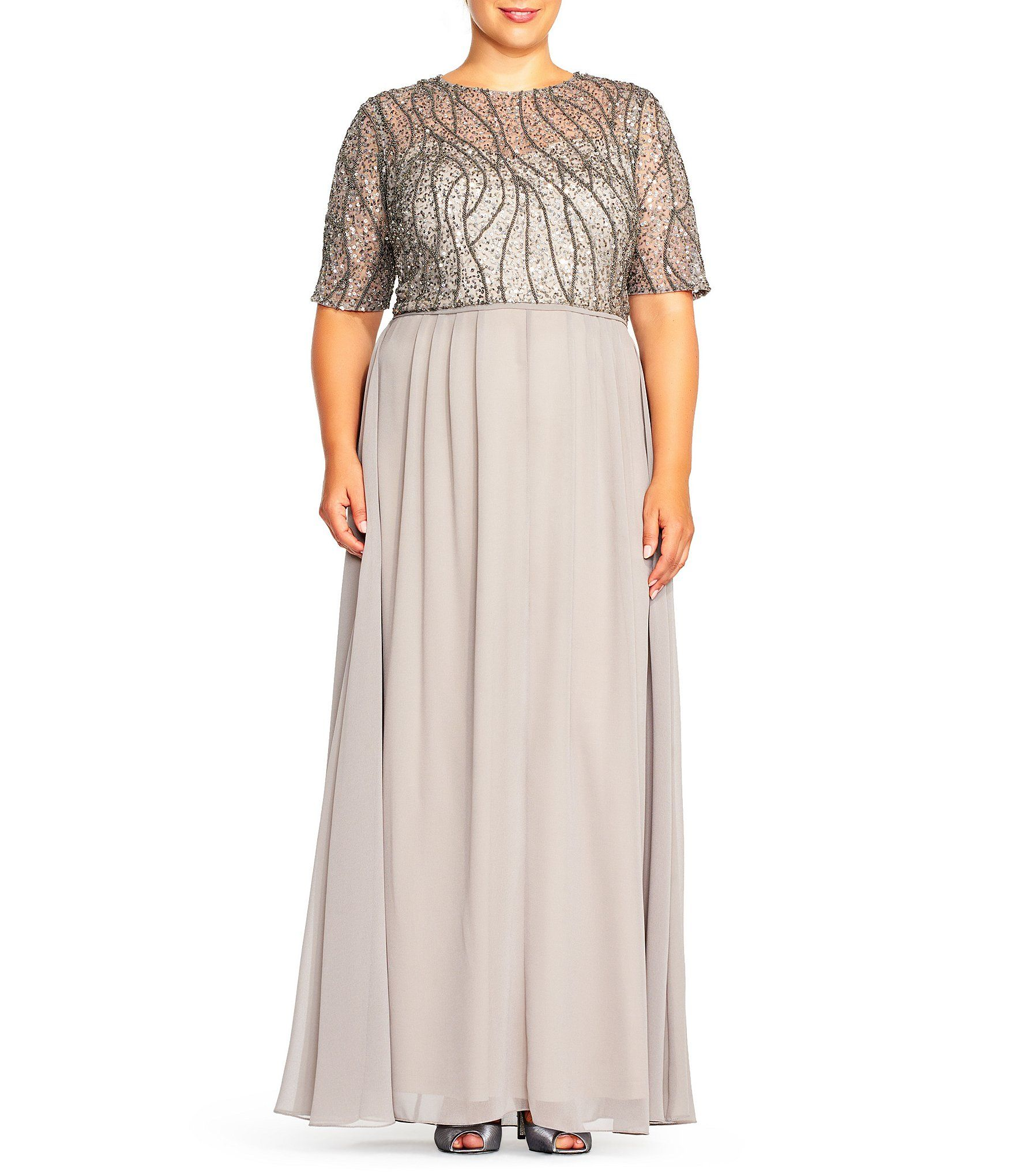 17307d1a129 Adrianna Papell Plus Beaded Bodice Gown  Dillards