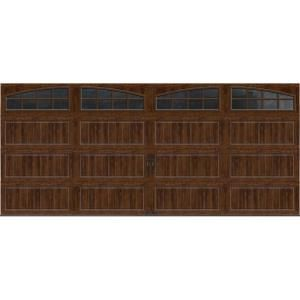 Clopay Gallery Collection 16 Ft X 7 Ft 18 4 R Value Intellicore Insulated Ultra Grain Walnut Garage Door With Arch Window Gr2lu Wo Grla1 The Home Depot Garage Doors Garage Door Design White Garage Doors