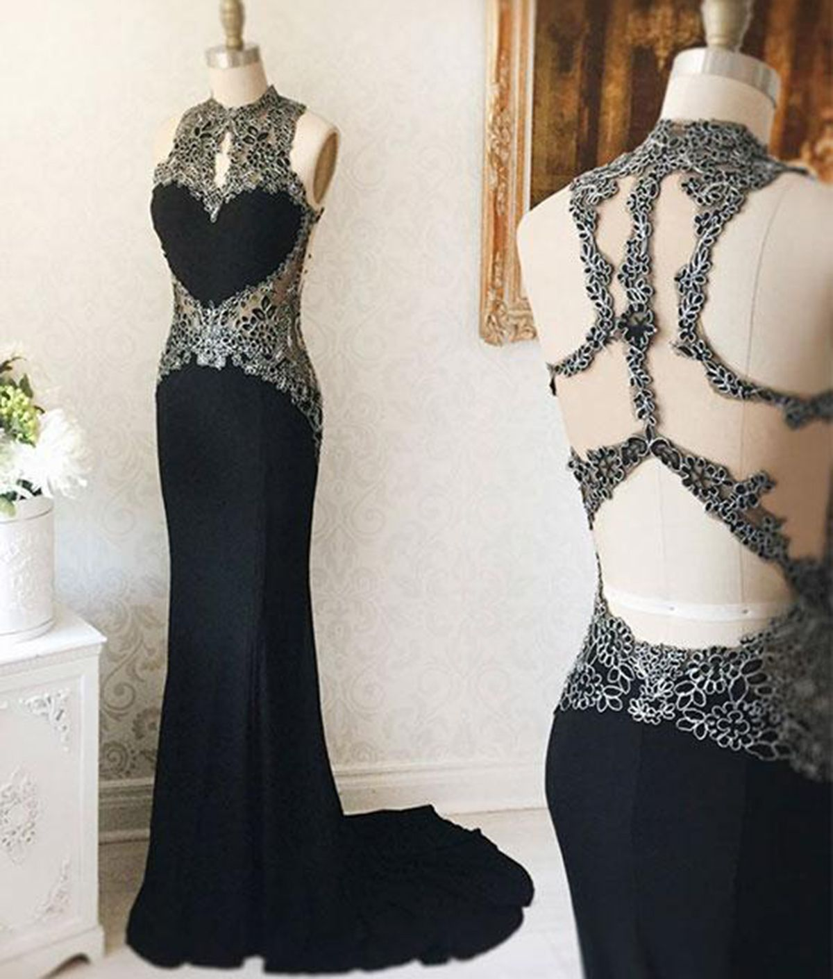 Black open back long lace mermaid evening dress long senior prom