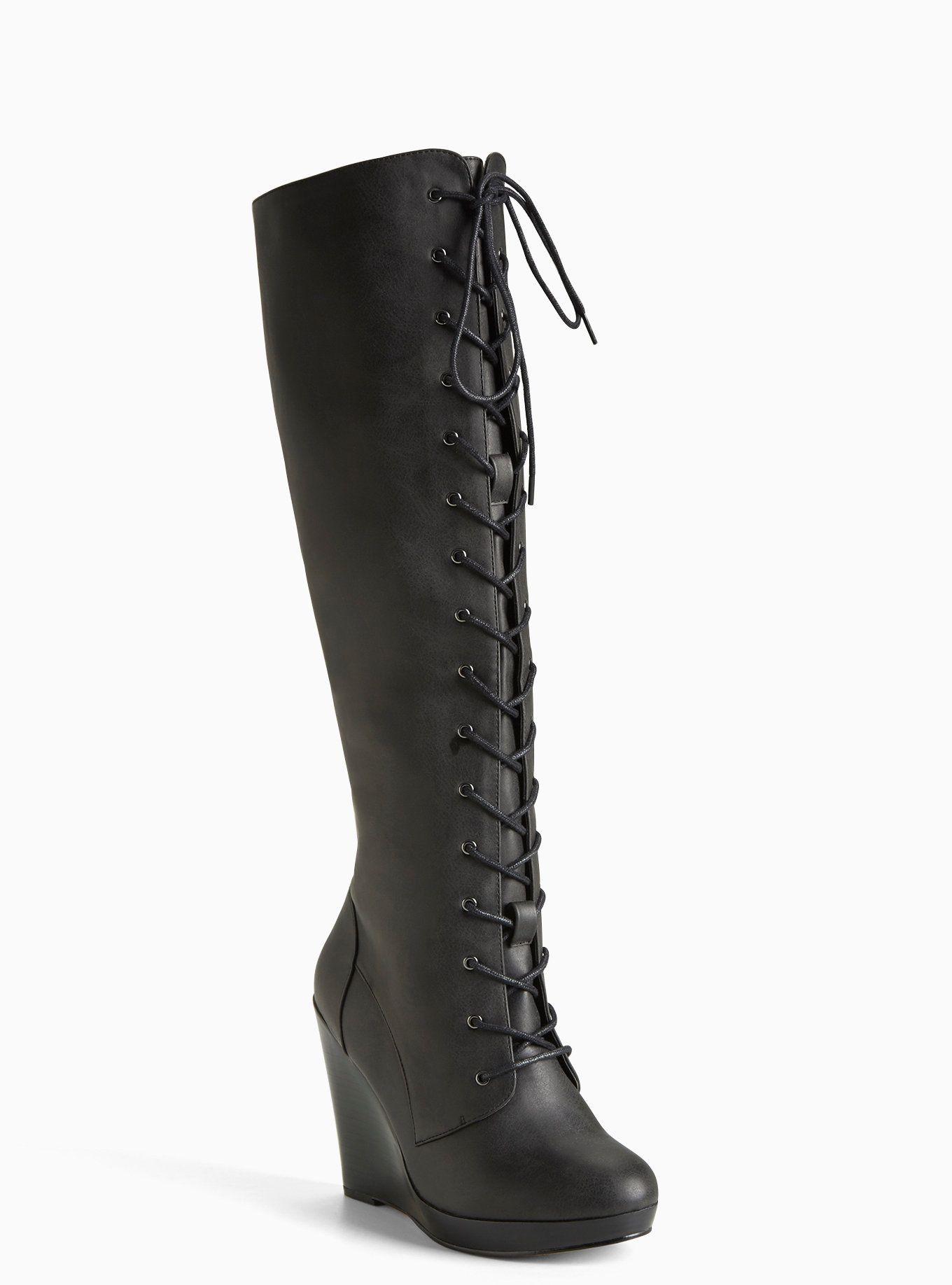 40a84a5b5fa Lace Up Wedge Boots (Wide Width   Wide Calf) in 2019
