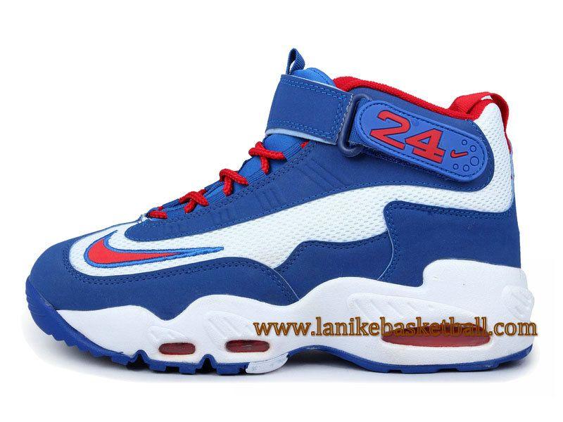 Nike Ken Griffey Chaussures De Basketball Pour Homme Bleu Blanc Rouge 354912 007A-Boutique La Nike Basket-Ball,Officiel Nike Chaussures En Ligne!