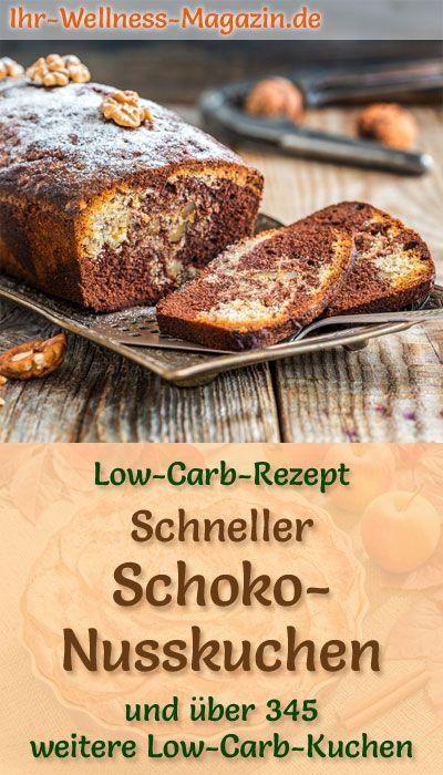 Schneller Low Carb Schoko-Nusskuchen - Rezept ohne Zucker