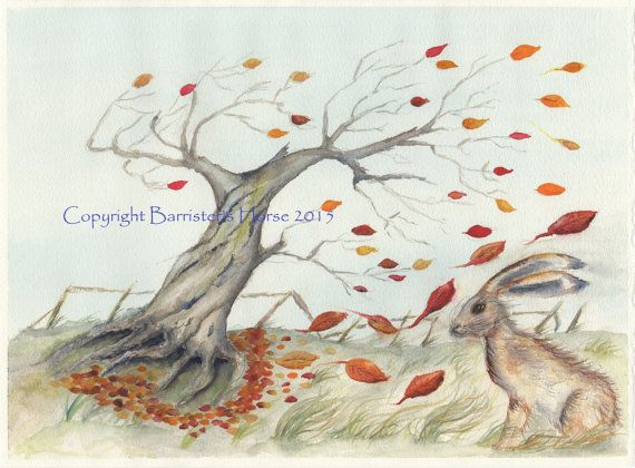 Twisted Tree & Hare fine art Giclee Watercolour by BarristersHorse