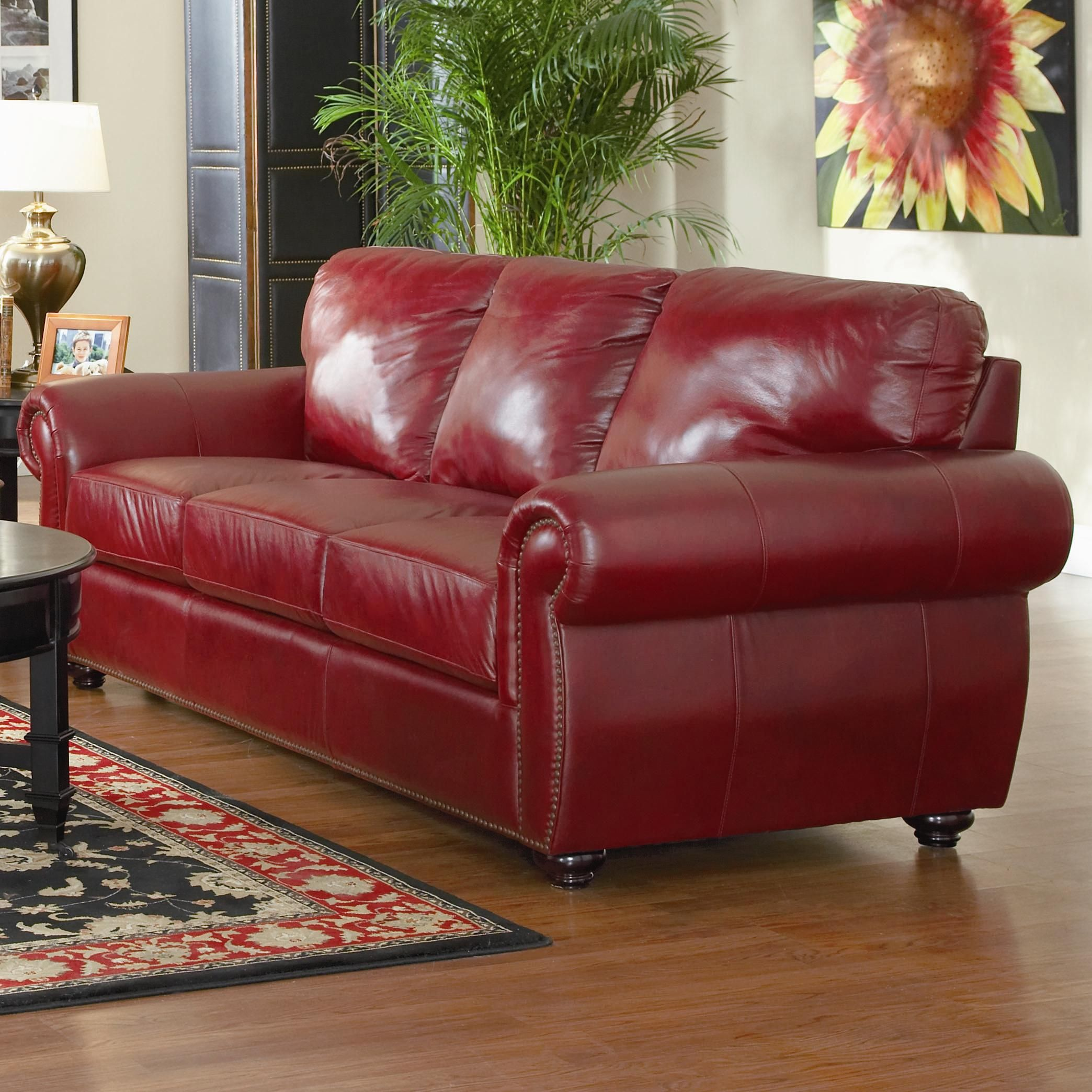 Chinese Red Leather Sofa Lewis Collection Burgundy Finish