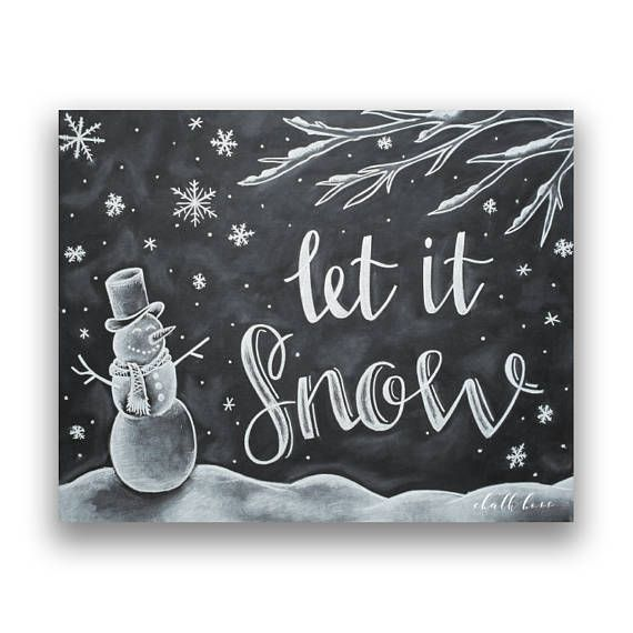 Lassen Sie es Schnee - Schneemann Kunst - Tafel Kunst - Schneemann Druck - Weihnachten Tafel - Kreide Kunst - Tafel Druck - lassen Sie es Schnee Kunst