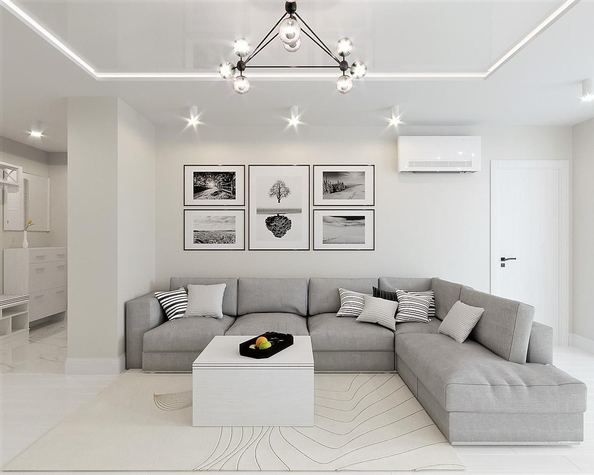 White On White Living Room White And Grey Interior Design In The Modern Minimalist
