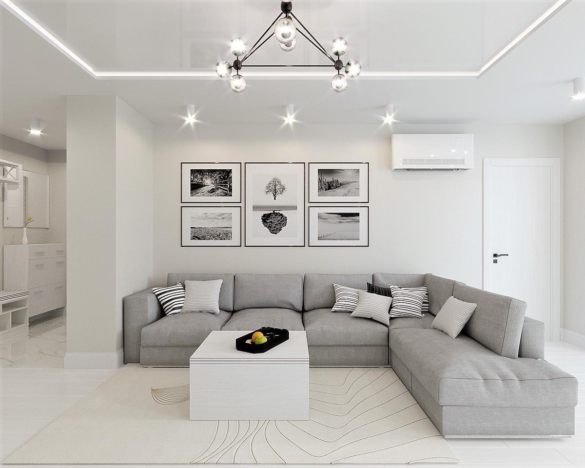 White Grey Interior Design In The Modern Minimalist Style Grey