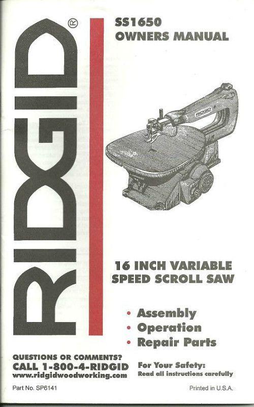 Ridgid Scroll Saw Manual