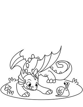 Ausmalbild Drache Und Schnecke Drachen Zum Ausmalen Lustige Malvorlagen Drachen Ausmalbilder
