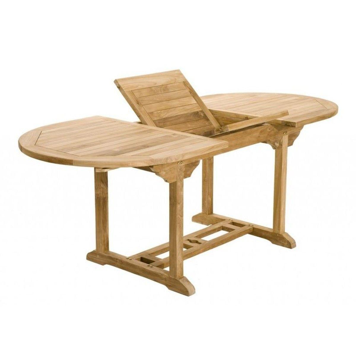 Salon Jardin Teck Table Ovale 150x90cm 4 Chaises 2 Faut ...