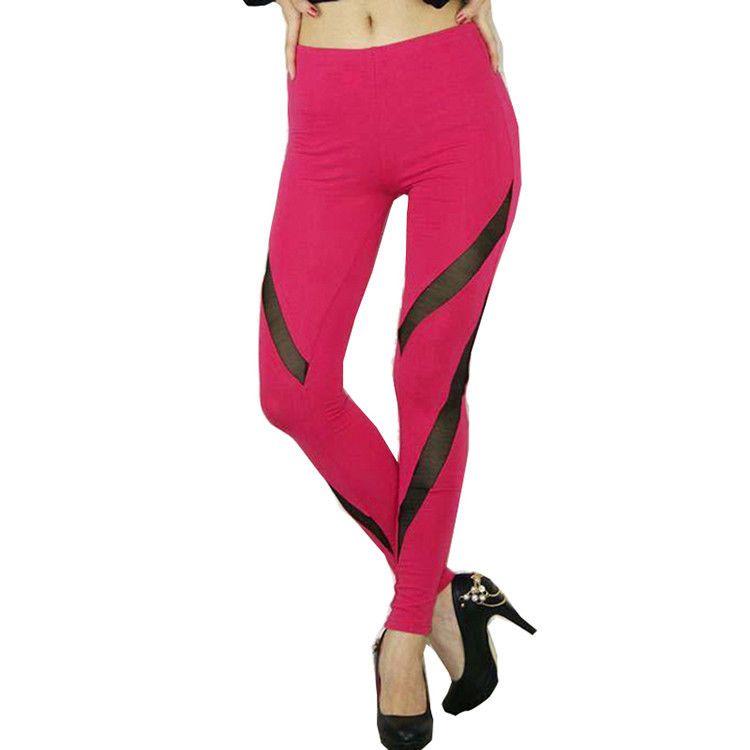 Sale Benefits Charity! Only GBP8.99! Plain Color Women Gym Sport Fitness  Pants Slim Lady Patchwork Mesh Yoga Leggings cc6afb3655