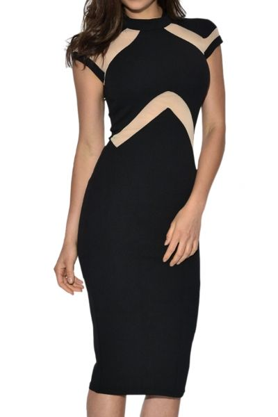 Nude Illusion Insert High Neck Midi Dress - OASAP.com