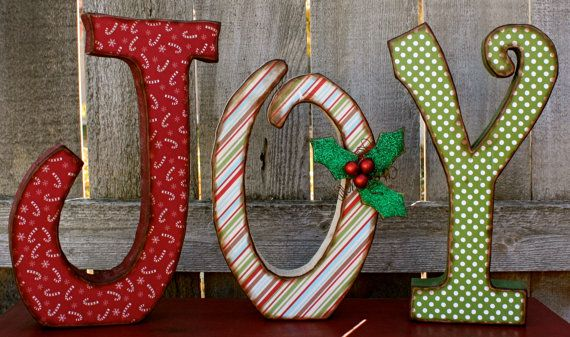 Christmas Decor Chunky Wood Antiqued Joy Letters Wood