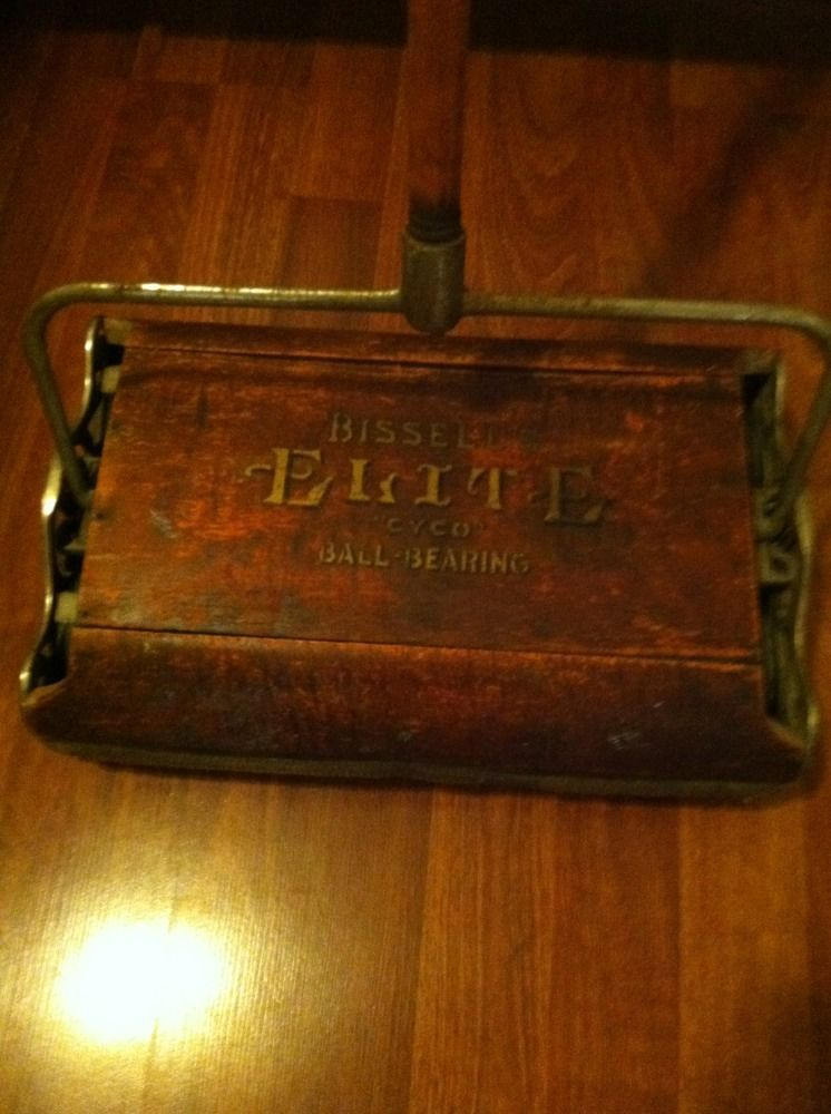 Vintage Bissell Elite Cyco Ball Bearing Wooden Push Floor