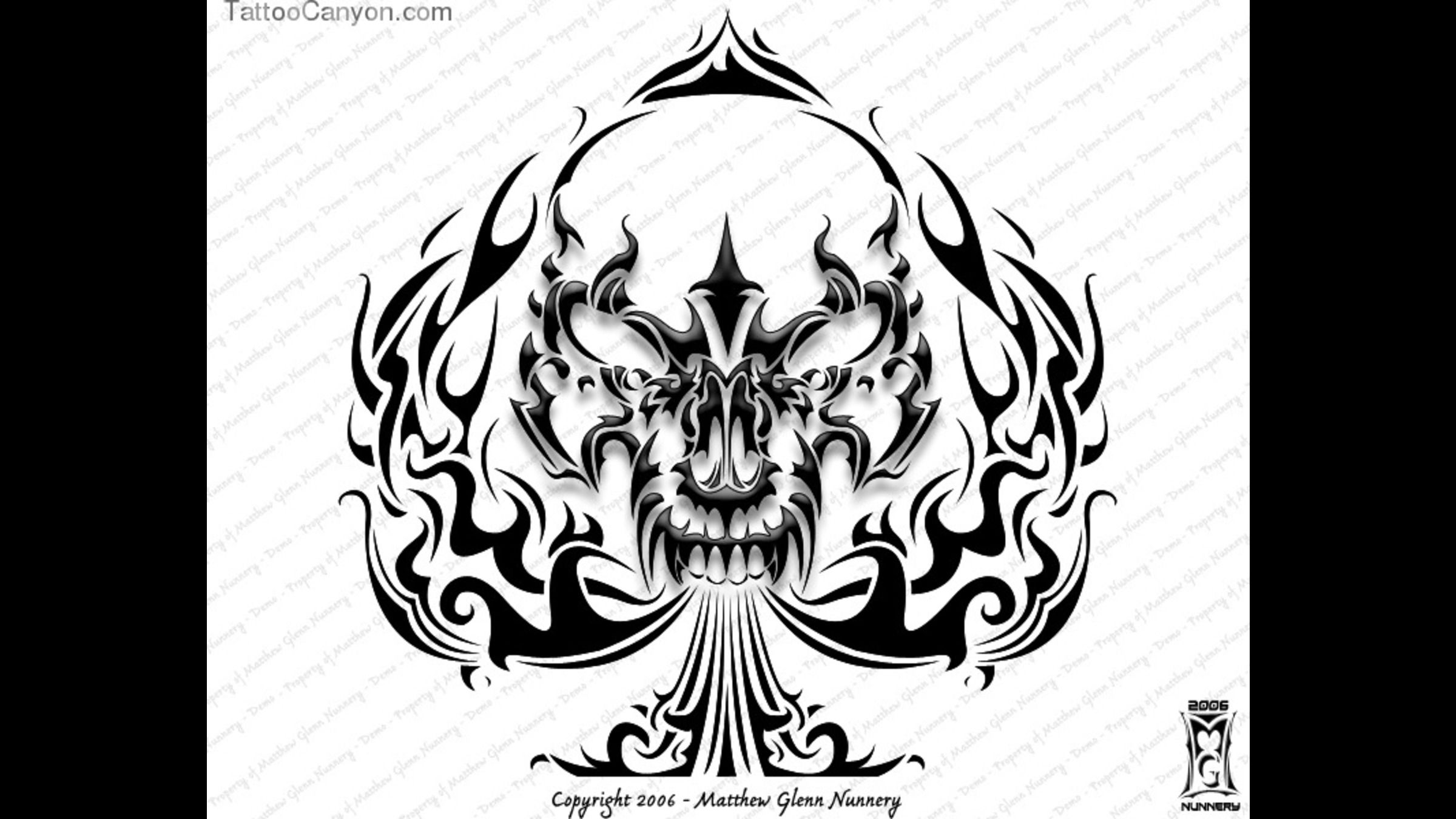 ... - Tribal Skull Spade Custom Tattoo Designs Free Tattoo Designs Jpg