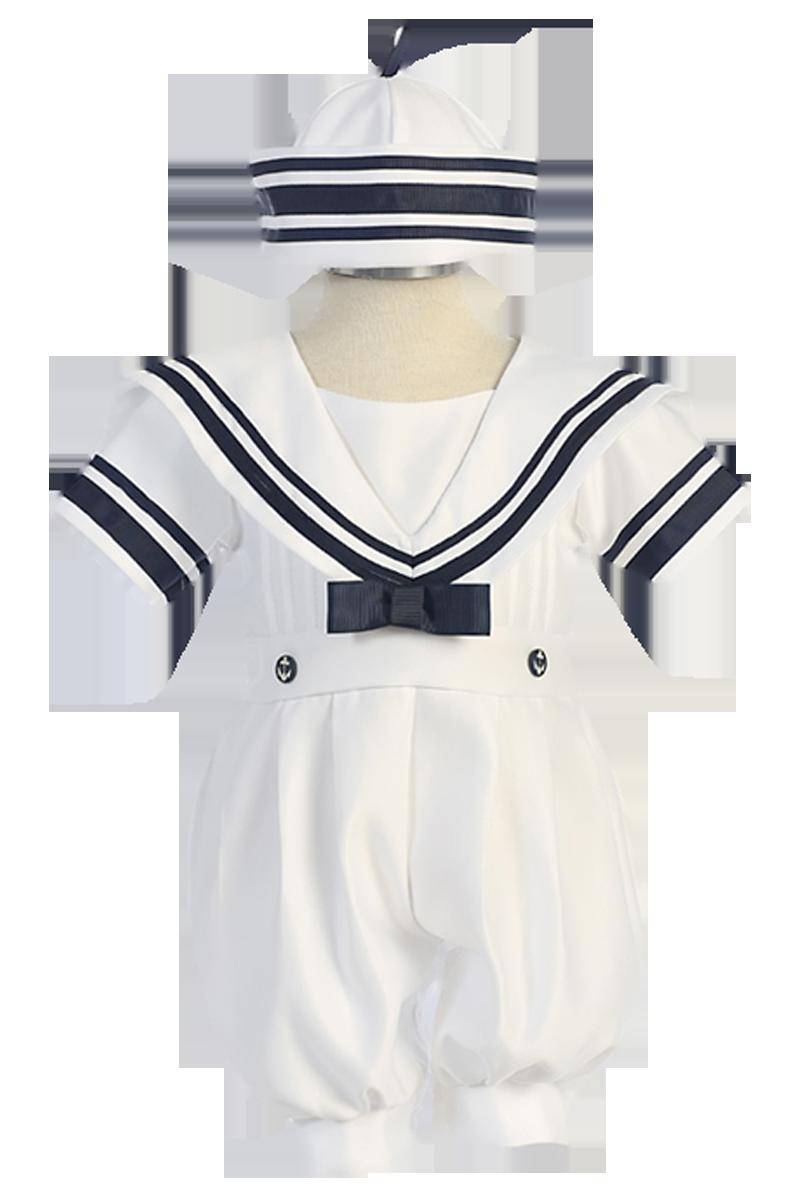 0c9bce3e8b15c White Nautical Sailor Romper Outfit with Classic Dixie Cup Sailor Hat ( Infant Boys 3 - 24 months)
