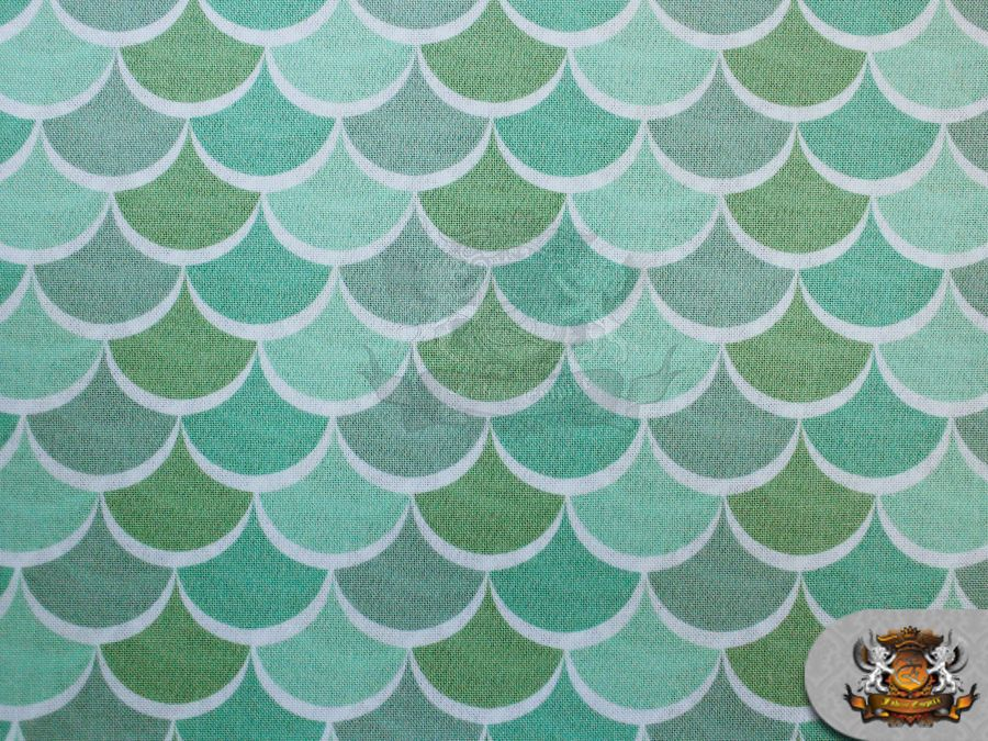 """100% Cotton Quilt Prints 3 TONE WAVE SCALE GREEN / 45"""" Wide / Sold BTY SC-219"""
