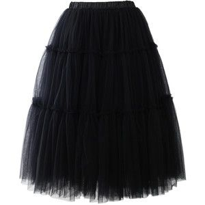 Chicwish Amore Tulle Midi Skirt in Black