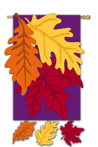 Colors Of Autumn Applique House Flag Fall House Flags Fall Flags Outdoor Flags