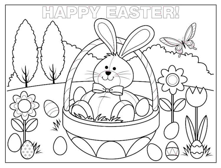 Happy Easter Rabbit Easter Basket Eggs Flowers