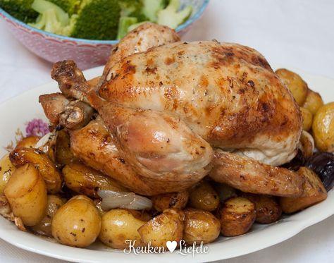 Spijs & Wijn: hele kip uit de oven met citroen-, tijm- en knoflookboter - Keuken♥Liefde