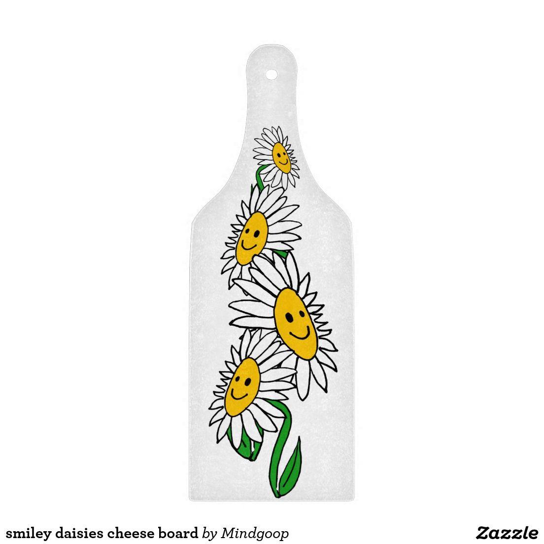 smiley daisies cheese board cutting board