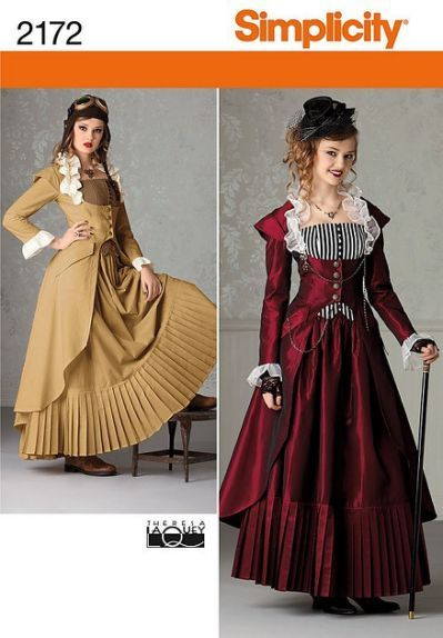 Steampunk-Victorian- Costume-Simplicity-Sewing-Pattern-Misses-Size-With