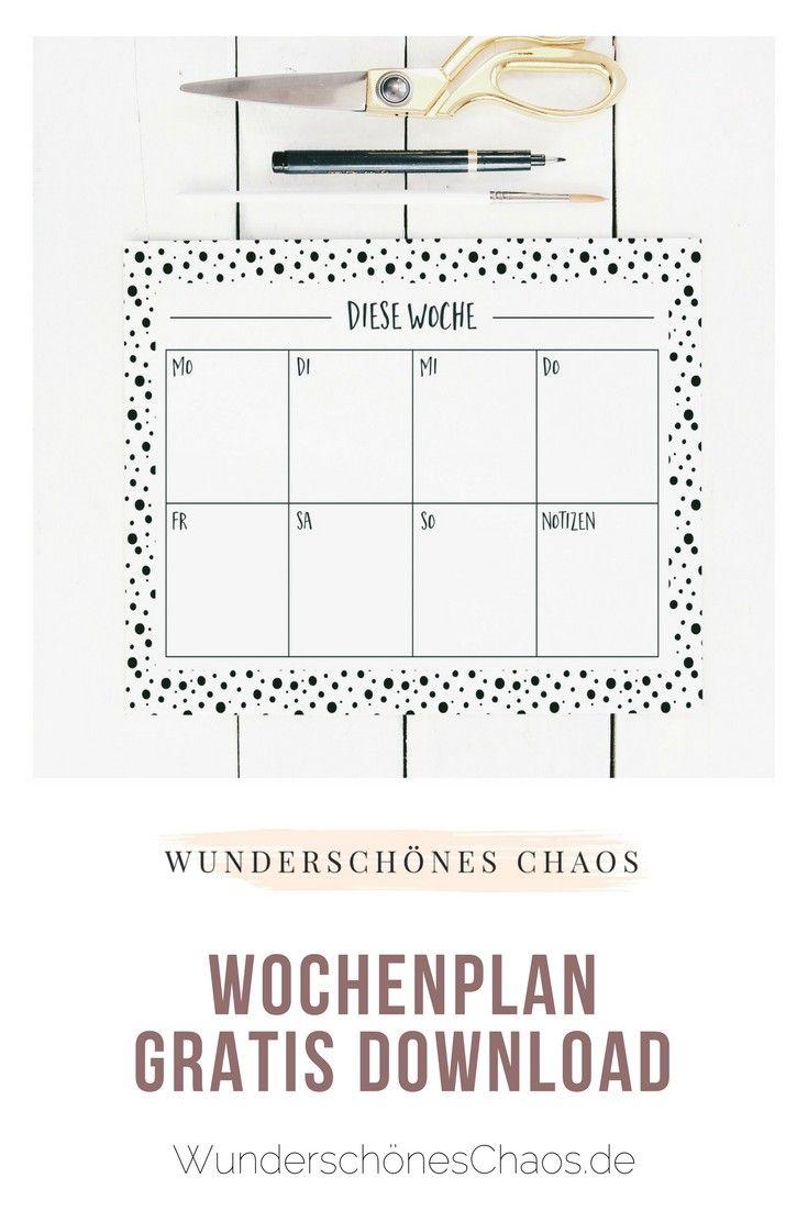Wochenplan gratis Download 13 verschiedene Designs