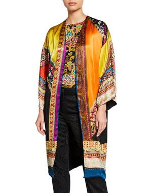 B4ZCP Etro Long Hammered Satin Patchwork Kesa $1,645.00