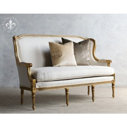 Formal Louis XVI High Back Settee in Gold Gilt $2,635.00 #thebellacottage #shabbychic #eloquence #homedecor #home