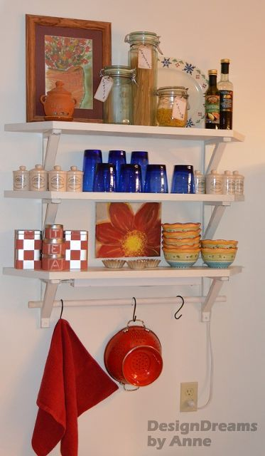 open kitchen shelving, kitchen design, repurposing upcycling, shelving ideas, storage ideas, Inexpensive open shelves from reclaimed wood and Ikea brackets work great in a skinny awkward space