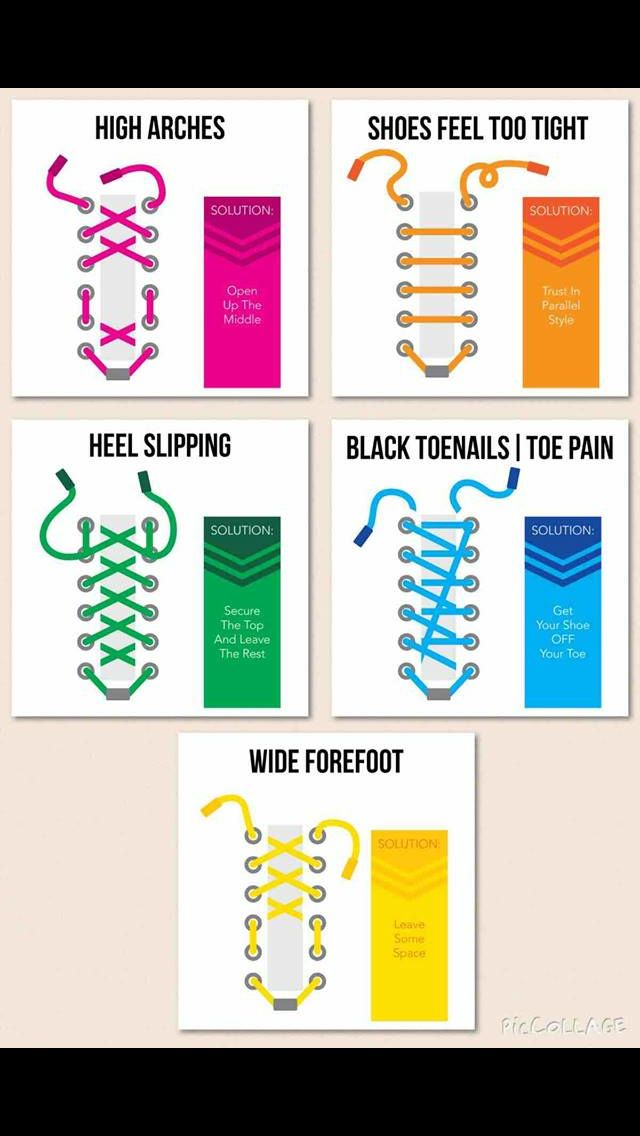 Ways to tie shoe laces to avoid
