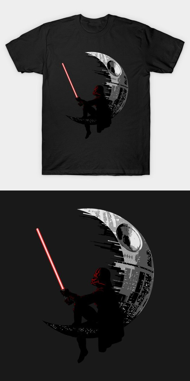 a8ba73fc Darth Vader Dreamworks Parody T Shirt   The Sith Lord sits on a crescent  Death Star