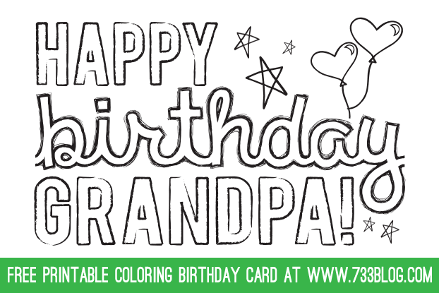Dadgrandpa Printable Coloring Birthday Cards Craft Ideas