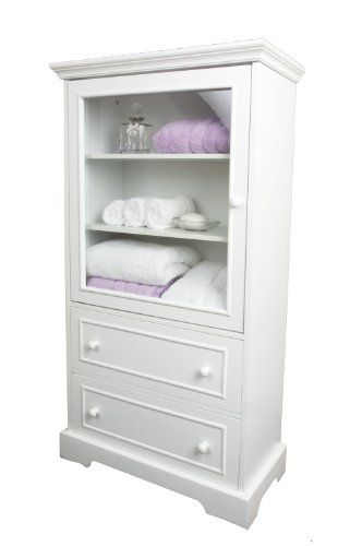White wood linen cabinet with glazed door and two drawers - Bedroom storage cabinets with drawers ...
