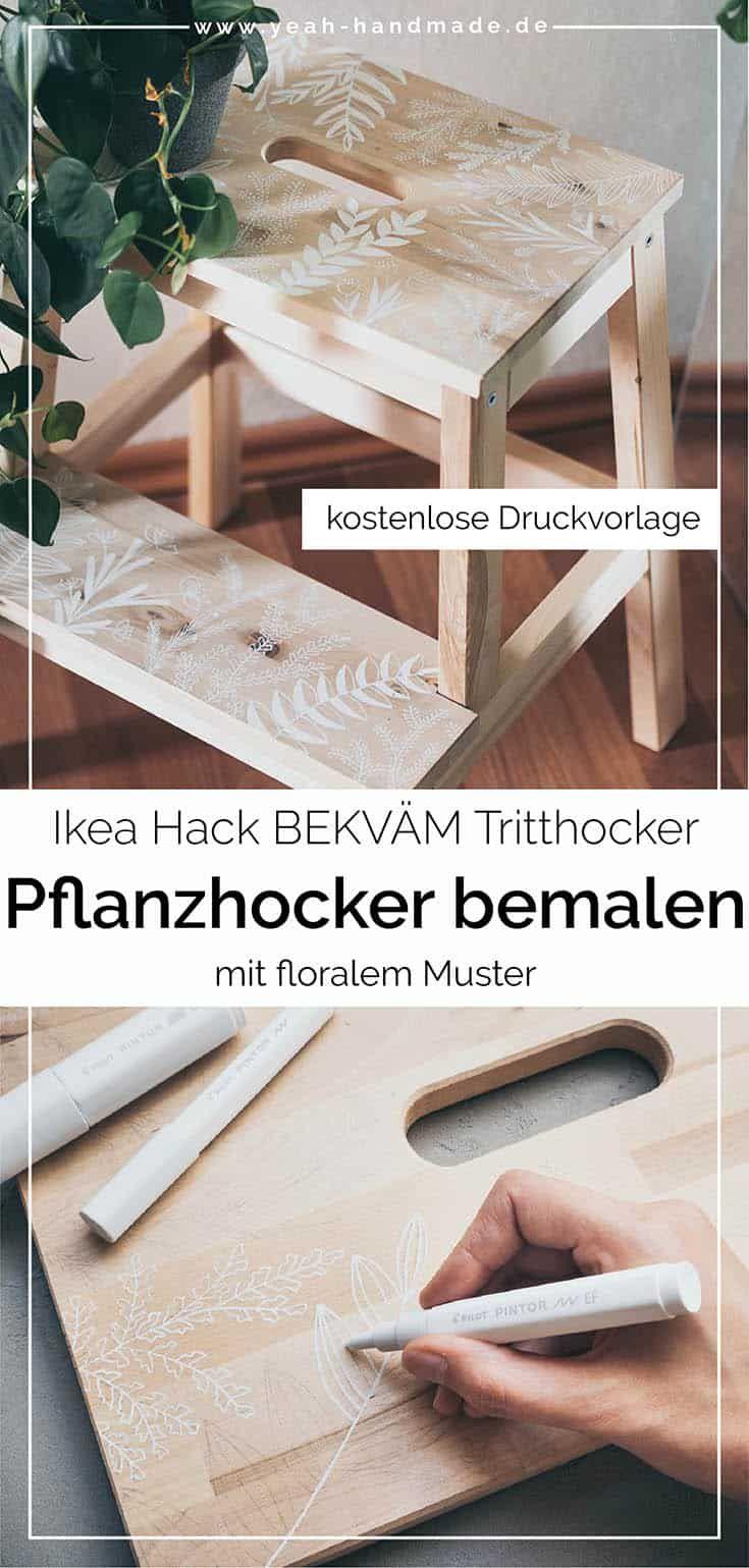 DIY Ikea Hack BEKVÄM Tritthocker mit floralen Mustern bemalen