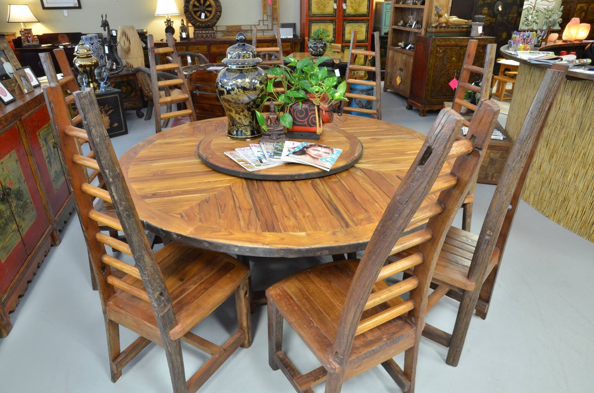 Repurposed Teak Table With Lazy Susan From Thailand Teak Table