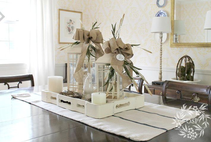 Diy Beautiful Burlap Bows Table Top Decor Or Dining Centerpiece Tutorial By Sutton Place Dining Centerpiece Lanterns Decor Decor