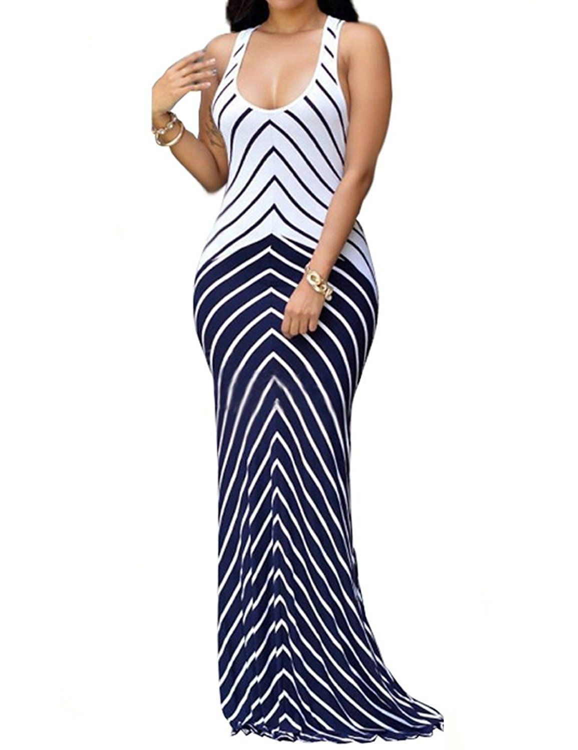 4c34d0c4ea6 shekiss Women s Casual Sexy Summer Sleeveless Striped Bodycon Bandage Club  Long Maxi Dress with Plus Size Floor Length at Amazon Women s Clothing  store