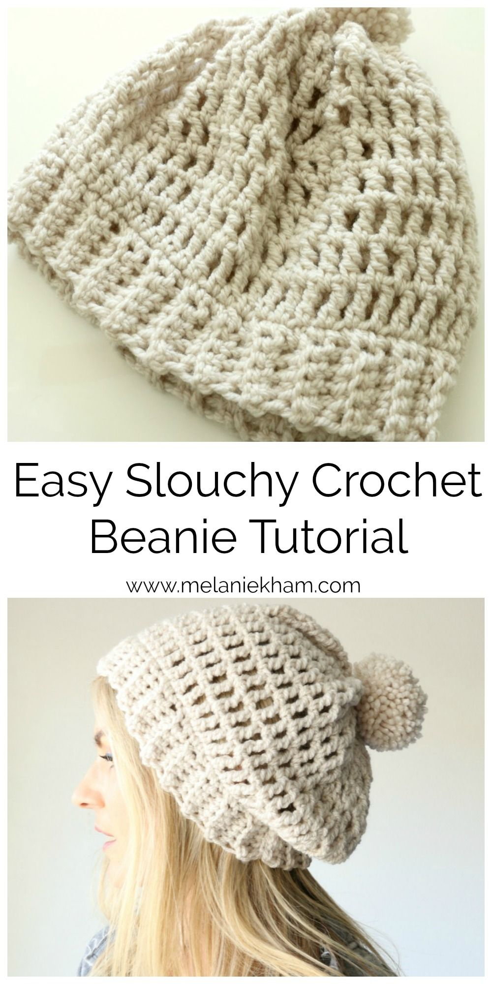 Easy slouchy crochet beanie video tutorial and free pattern! | Yarn ...
