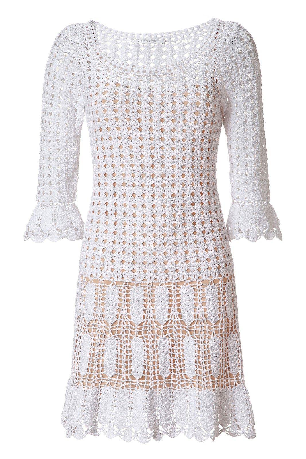 Женщина в белом: платье крючком от Alberta Ferretti. Подбор узоров и выкройки. Обсуждение на LiveInternet - Российский Сервис Онлайн-Дневников
