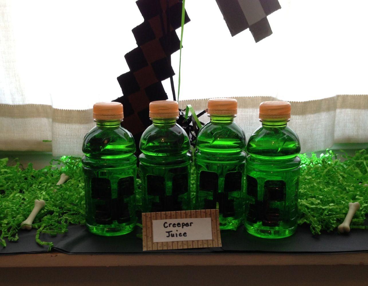 Minecraft Creeper Juice (green Gatorade, black sharpie to draw ...